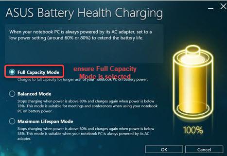 select full capacity mode