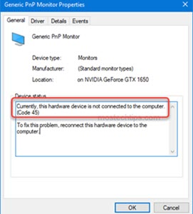 error code 45 in device manager