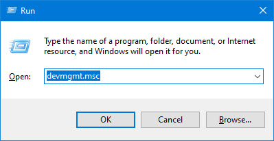 open the device manager window