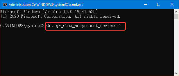 show hidden device with command prompt