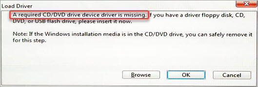 a required cddvd drive device driver is missing