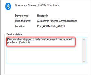 windows 10 bluetooth error code 43