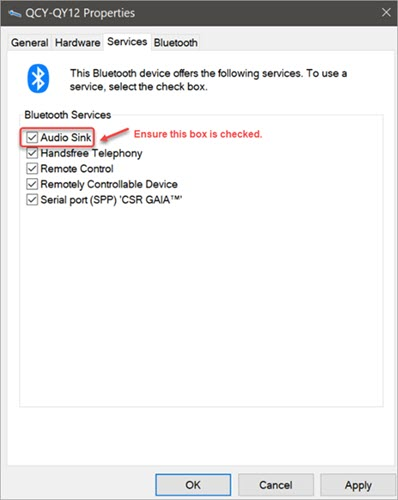 enable audio sink service