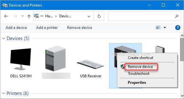 remove bluetooth device from devices and printers