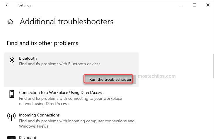 run bluetooth troubleshooter