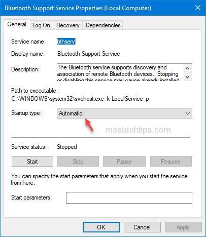 set bluetooth service startup type as automatic