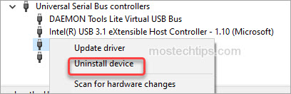 uninstall the driver