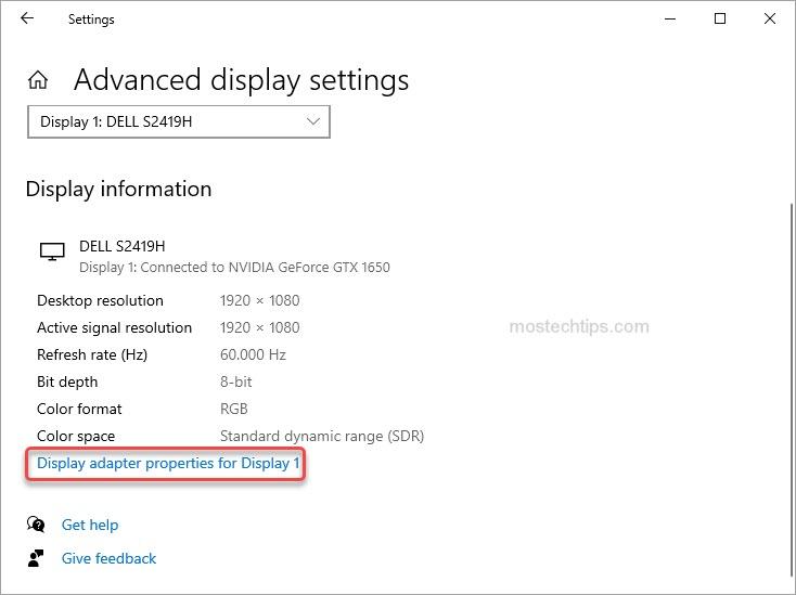 click on display adapter properties