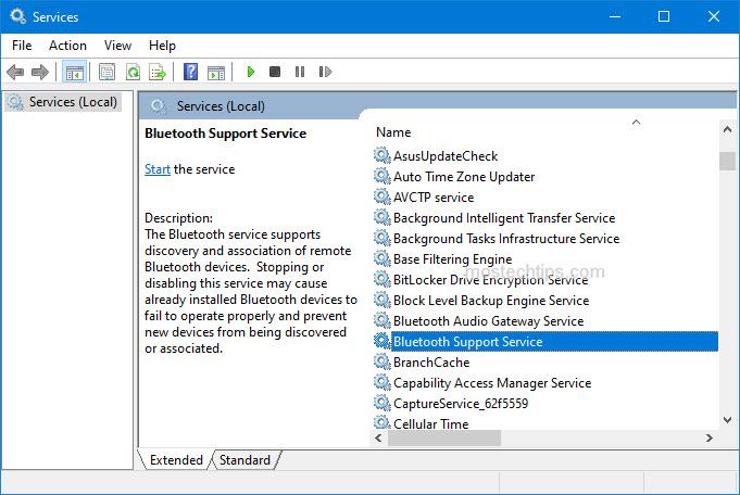 locate bluetooth support service