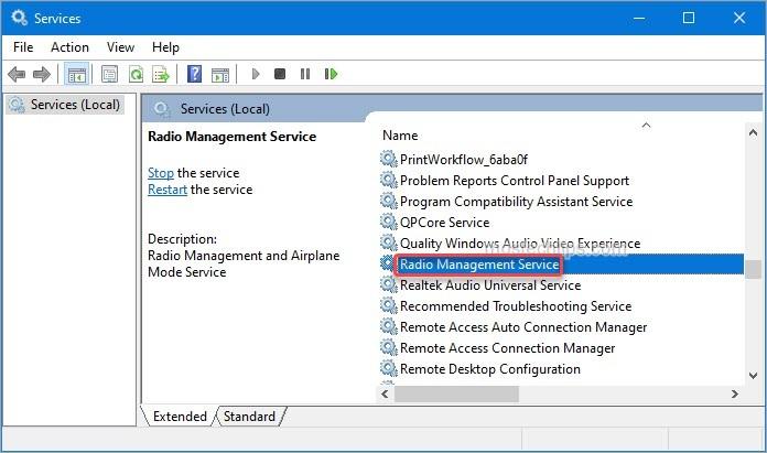 open Radio Management Service properties window