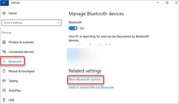 click on the more bluetooth options link