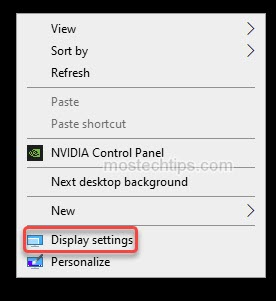 a screen shot shown how to select display settings