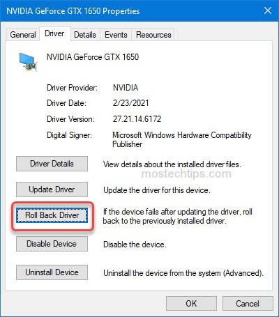 roll back graphics card driver