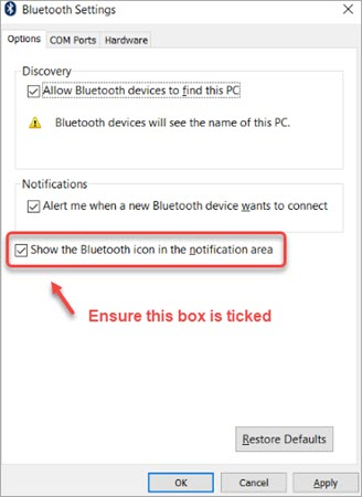 show bluetooth icon in the notification area