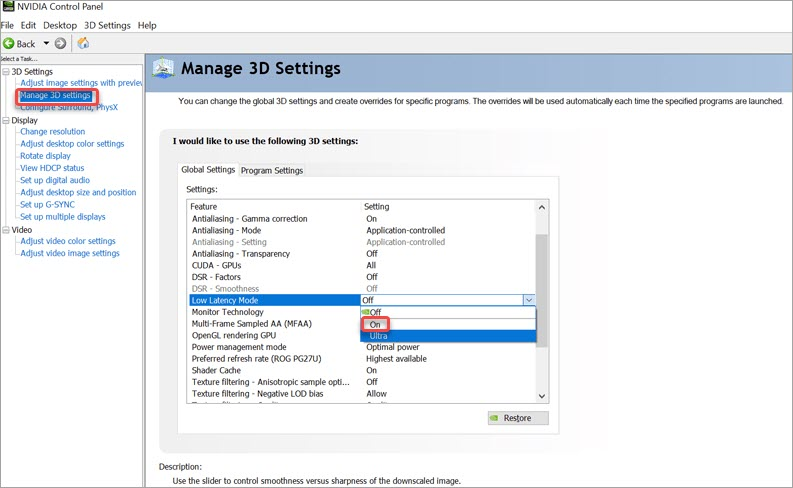 enable low latency mode in nvidia