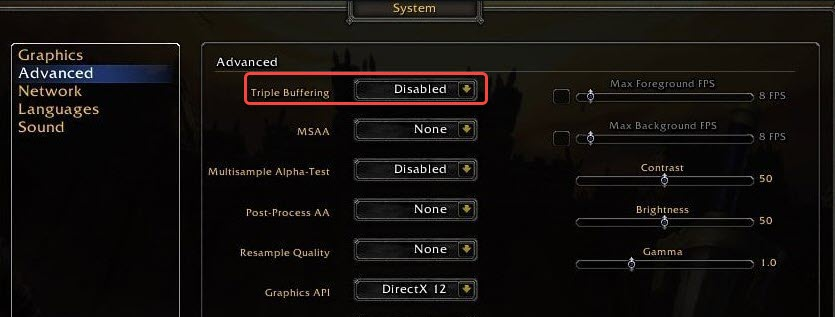 show how to enable triple buffering in wow