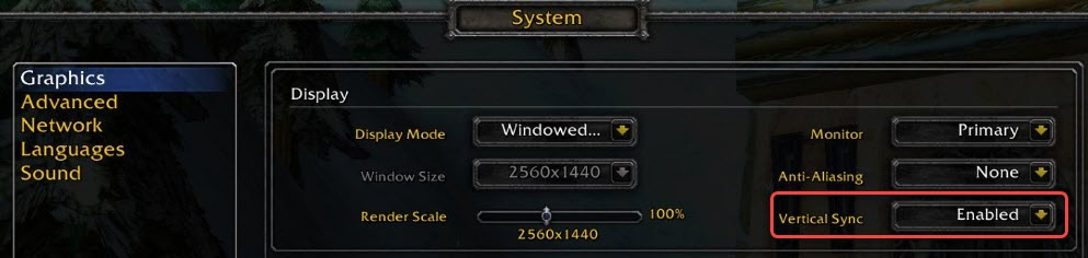 show how to enable vertical sync in wow