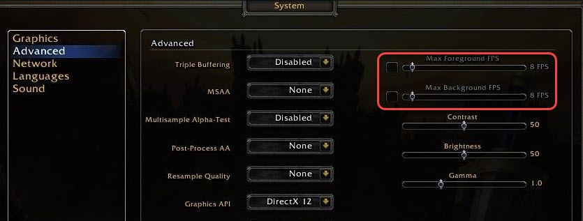 show the location to lower maximum fps in wow