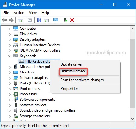 uninstall keyboard device driver