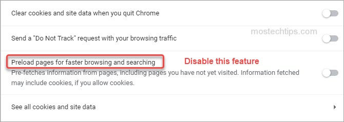 show how to disable chrome preloading