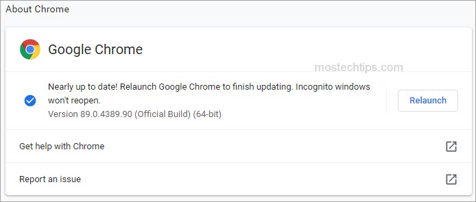 show  how to update chrome to the latest version