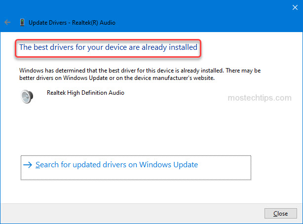 Windows fails to provide with the Realtek audio driver