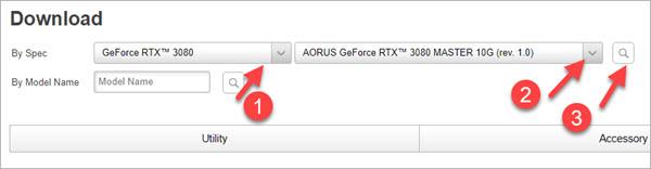 select the gigabyte graphics card model