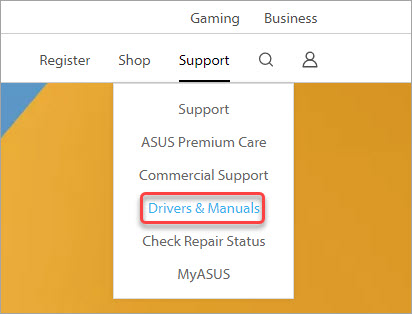 show how to go to asus support page to download the camera driver
