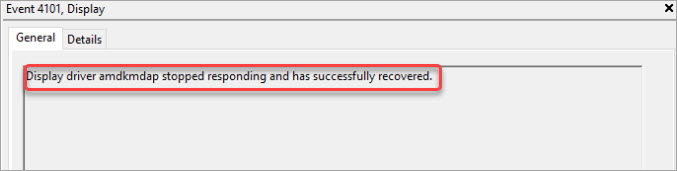 Display driver amdkmdap stopped responding and has successfully recovered