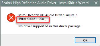 realtek error code 0001 error message