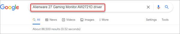 search the alienware monitor driver