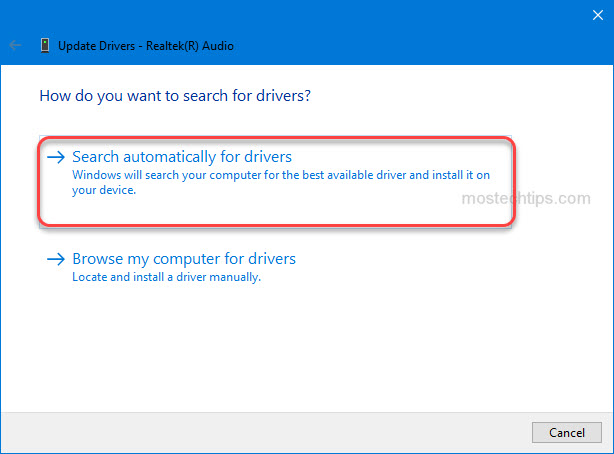 select the option allowing Windows to install the driver