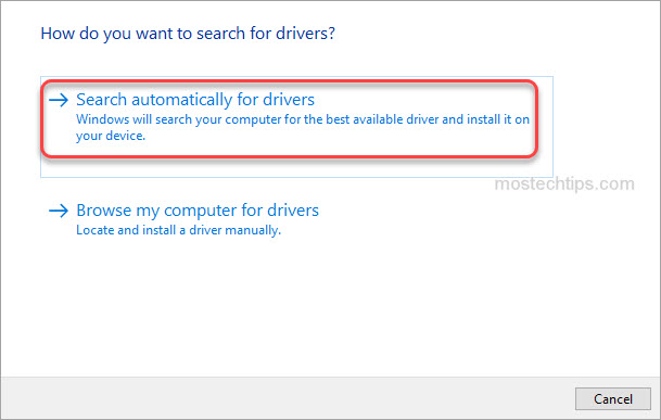 automatically search for drivers