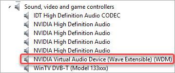download update nvidia virtual audio device driver