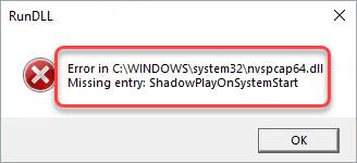 fix nvspcap64.dll missing error