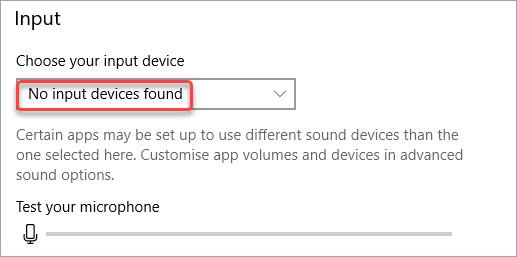 no audio input devices found