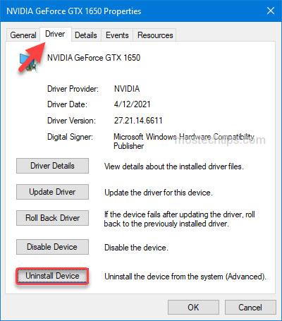 uninstall display card driver