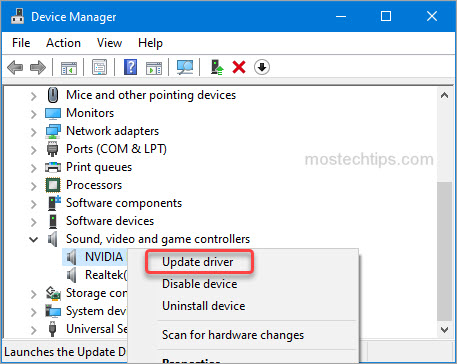 update nvidia virtual audio device driver  in device manager