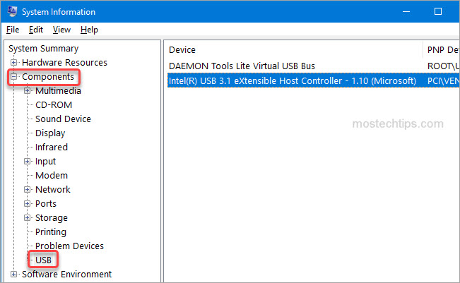 usb device shown in system information