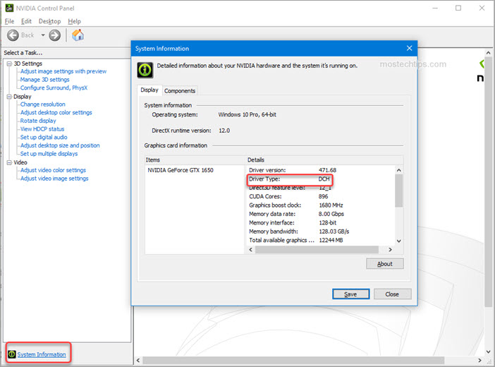 how to check the driver type from nvidia control panel