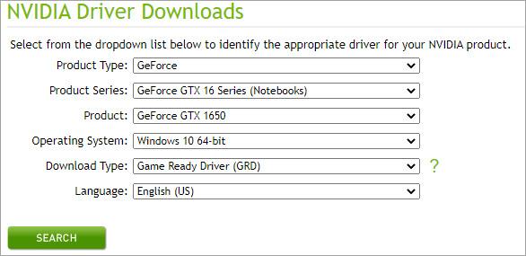 download nvidia driver manually