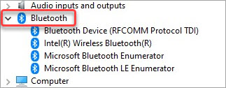 expand bluetooth device in device manager