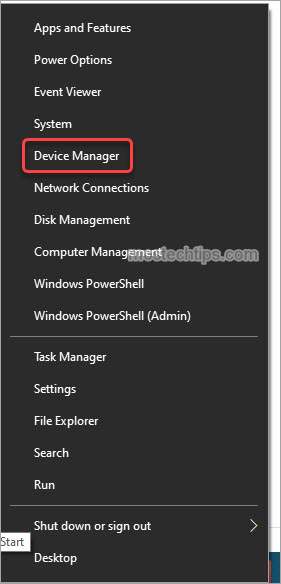 open device manager from power user menu