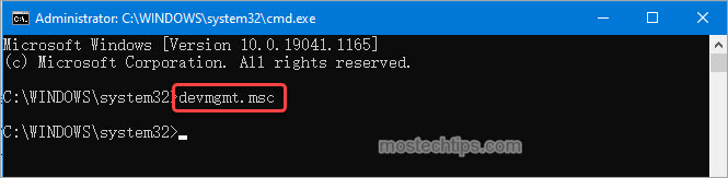 open device manager ad admin from command prompt