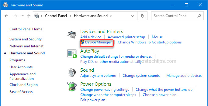 open device manager via control panel
