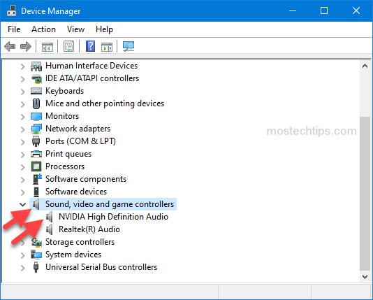 open nvidia high definnition audio properties window