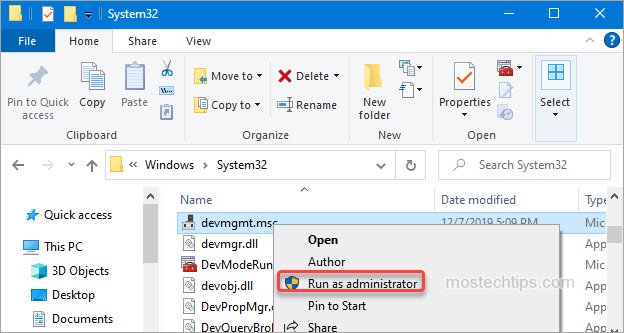 open device manager as admin from file explorer