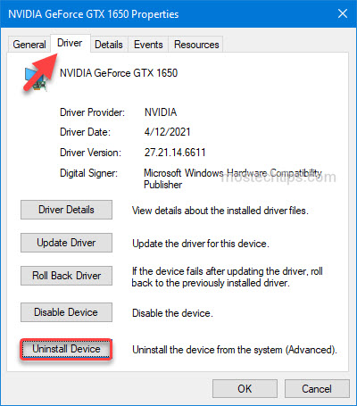show  how to uninstall graphics card driver from device manager