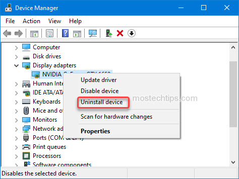 uninstall nvidia graphics card driver from device manager