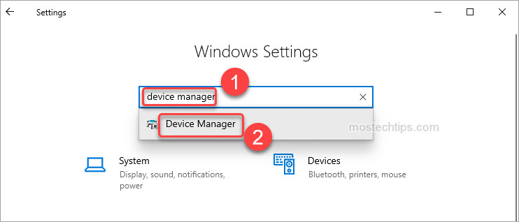 open device manager through windows settings